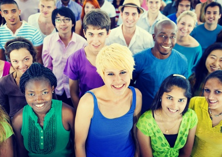 multi-ethnic crowd teenager happiness team
