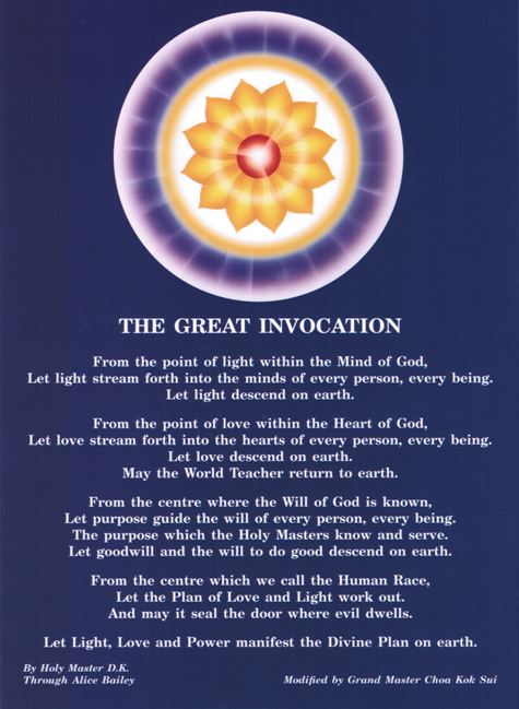 great invocation prayer postcard