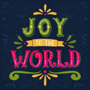 joy to the world. christmas retro poster with hand
