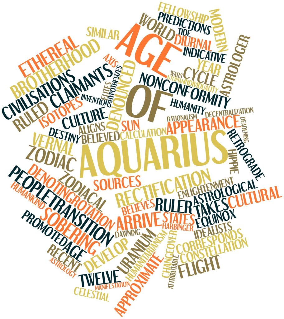 abstract word cloud for age of aquarius