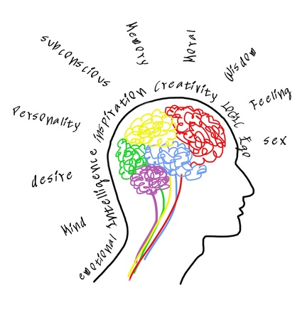brain drawing with words
